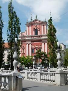 Slowenien-Ljubljana Dreibrücken Kirche