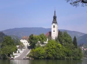 Insel im Bleder See mit Kirche