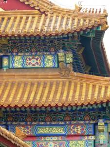 goldene Daecher bunte Balken Peking